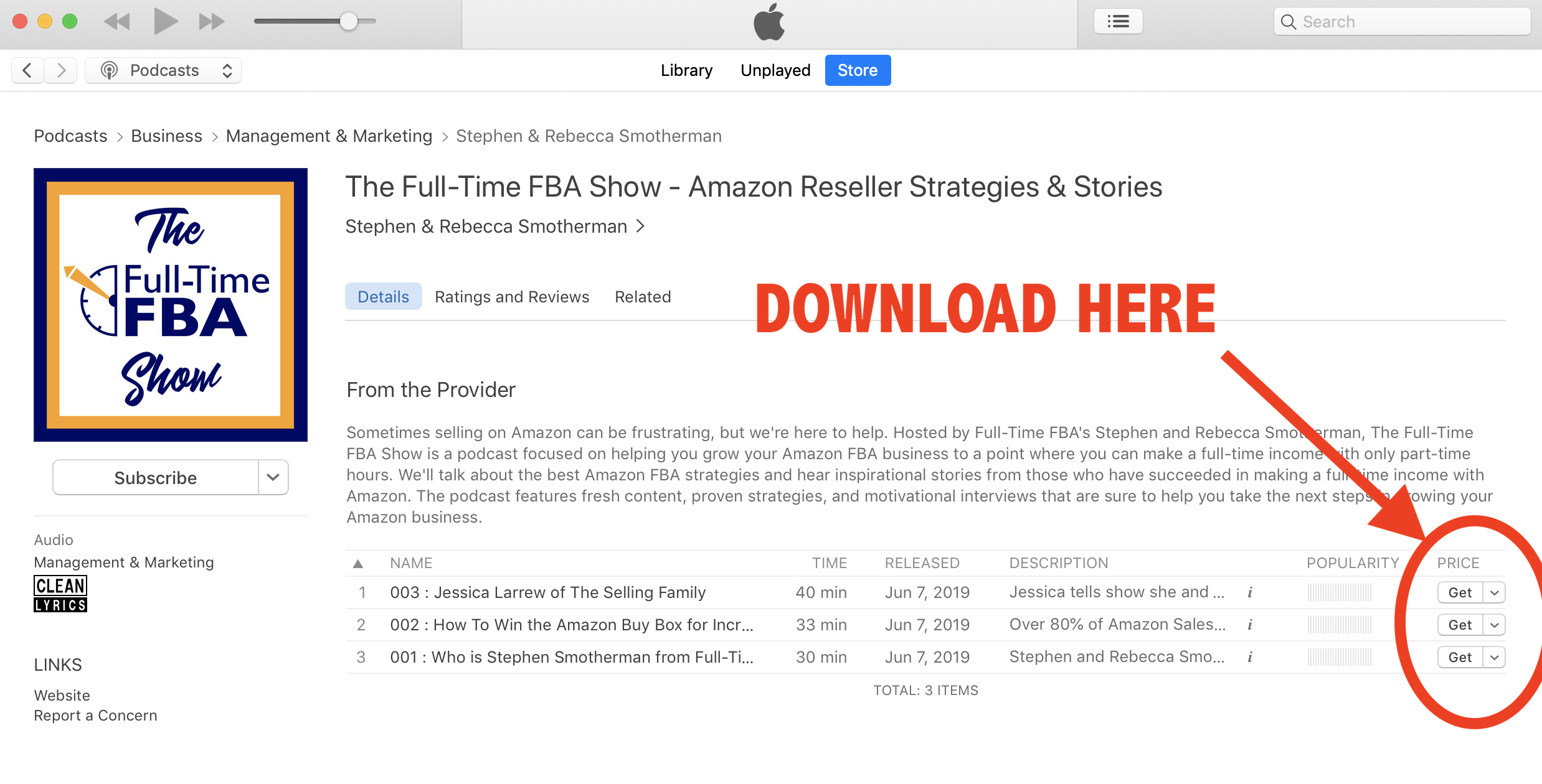 Subscribe, Download and Leave a Review for The Full-Time FBA
